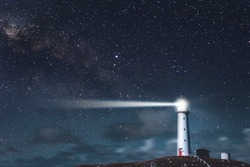 Cape Egmont Lighthouse and starry night. New plymouth, New Zealand.