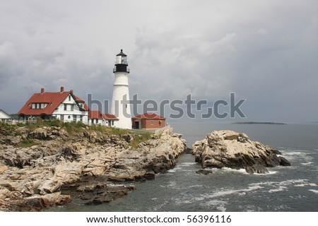 Cape Elizabeth Lighthouse before cloudy sky, New England, Portland, Maine