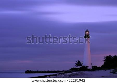 cape florida lighthouse near miami at twilight