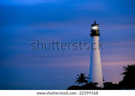 cape florida lighthouse near miami at twilight