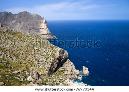 Cape formentor in the coast of mallorca, spain
