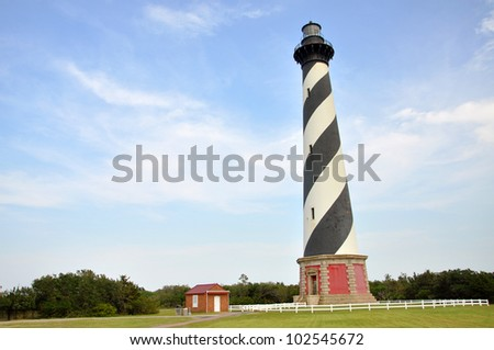 Cape Hatteras Lighthouse in Cape Hatteras National Seashore, on Hatteras Island, North Carolina, USA