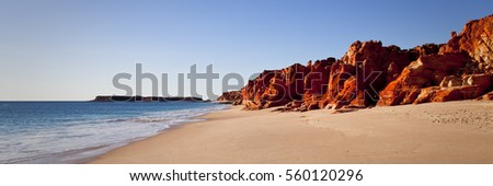 Cape Leveque in North Western Australia is a stunning landscape of red cliffs against the blue ocean. Broome, Western Australia, Australia. #560120296