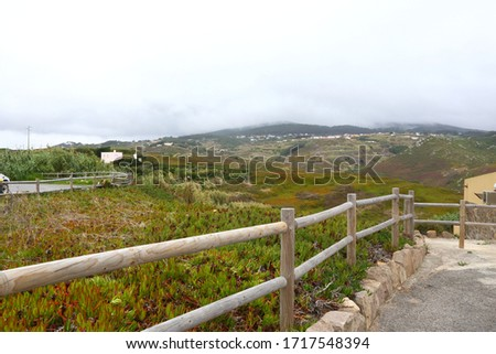 Cape of Rock (Cabo da Roka) in Portugal. Surroundings, green hills and plants. Stok fotoğraf ©