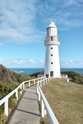 Cape Otway lighthouse,  White house founded in 1848, in great ocean road, Australia