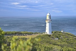 Cape Otway Lighthouse with the sea behind is along the Great Ocean Road and a wonderful spot for photos