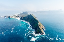 Cape Point and Cape of good hope (South Africa) aerial view shot from a helicopter