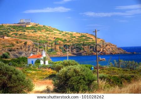 Cape Sounion with Temple of Poseidon in the Background, Attica, Greece