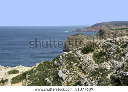 Cape St. Vincent in the Algarve, south-west coast of Portugal.