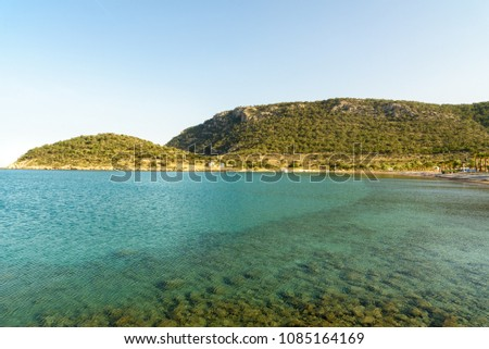 Cape Tisan is a headland on the Mediterranean sea coast. Modern popular names are Cleopatra's bay for the east bay and Pirates' bay for the west bay. Mersin Province. Turkey. #1085164169