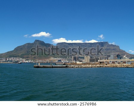 Cape Town and Table Mountain from the sea