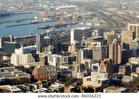 Cape Town City and Habor - stock photo