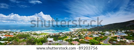 Cape Town city panoramic image, beautiful cityscape  and beach on Atlantic ocean coast, South Africa travel