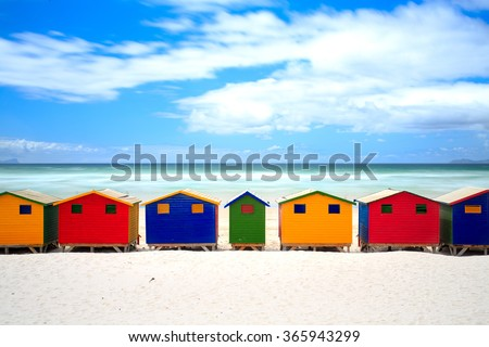 Cape Town colored houses on muizenberg beach - South Africa , Eastern Cape