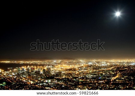 Cape Town harbor and city at night with moon in the sky #59821666
