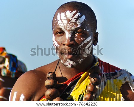 CAPE TOWN - MAY 25 : An unidentified young man wears traditional clothing, during presentation of a Zulu show on May 25, 2007 Cape Town, South Africa