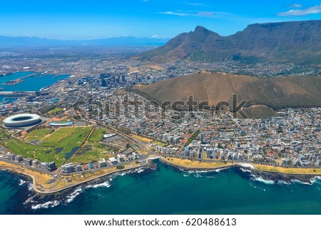 Cape Town panorama, bird's-eye view. Signal Hill & Table Mountain #620488613
