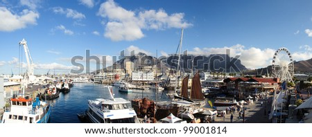 Cape Town panorama waterfront and habour with famous Table mountain in South Africa