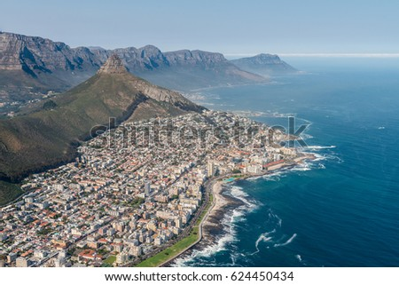 Cape Town, South Africa, (aerial shot from a helicopter) with focus on Sea Point #624450434