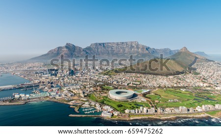 Cape Town, South Africa (aerial view from a helicopter) #659475262