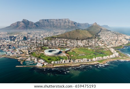 Cape Town,South Africa (aerial view from a helicopter) with the stadium in the focus #659475193