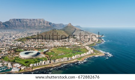 Cape Town,South Africa (aerial view from a helicopter) with the stadium in the focus #672882676