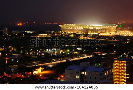 CAPE TOWN, SOUTH AFRICA - APRIL 7: Cape Town Greenpoint Stadium at night on April 7, 2012 in Cape Town, South Africa. This place was  used as a 2010 FIFA World Cup kick off in Cape Town, South Africa.