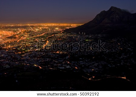 Cape Town, South Africa at night, with the city  lit up by all the lights