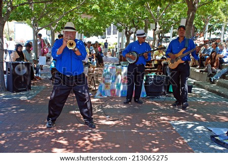 CAPE TOWN, SOUTH AFRICA - DECEMBER 30, 2007: African street jazz band on the Waterfront in Capetown, South Africa.
