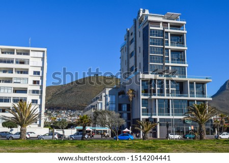 Cape Town, South Africa - September 6 2019: Sea Point district - most densely populated suburb of Cape Town near Signal Hill and South Atlantic Ocean coast #1514204441