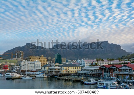 CAPE TOWN, SOUTH AFRICA - SEPTEMBER 27, 2016: Table Mountain in Cape Town on cloudy a day #507400489