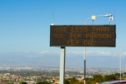 Cape Town water shortage crisis sign,