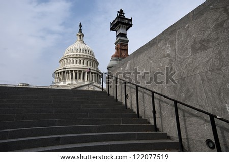 Capital Building on the top of the stairs, in Washington DC