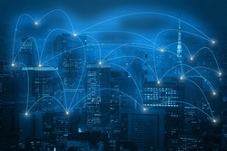capital city and glow line as business global network connection . Block chain network concept , Distributed ledger technology