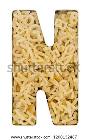 Capital Letter N made up from  alphabet  pasta  macro image  Foto stock ©