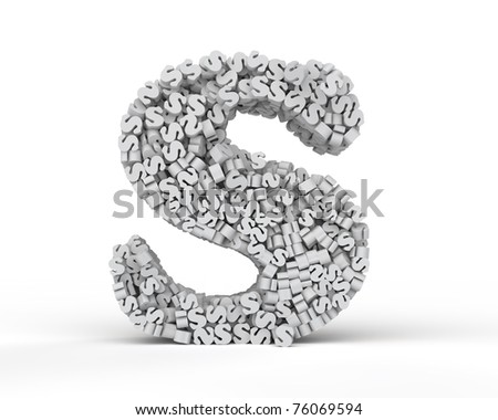 Capital letter S consisting of small letters