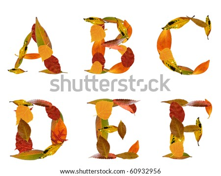 Capital letters made by autumn leaves with work path