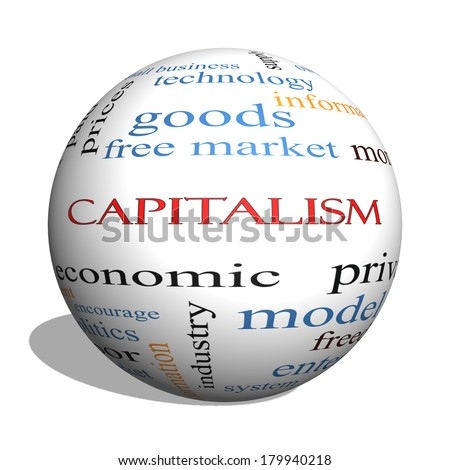 Capitalism 3D sphere Word Cloud Concept with great terms such as economic, private, free and more. - stock photo