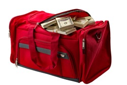 capitalism, money stash and loot in handbag conceptual idea with duffle bag made of red material full of banknote heap isoalted on white background with clipping path cutout
