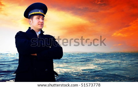 Capitan on the sea with ship
