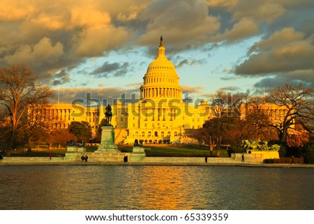 Capitol at sunset, Washington D.C., USA