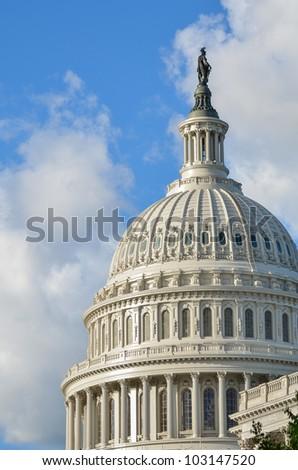 Capitol Building dome detail - Washington DC United States - stock photo