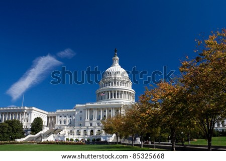 Capitol Building Framed Autumn Foliage Washington DC, Polarized Filter