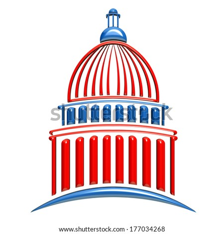 Capitol building icon red and blue. 3D rendering illustration