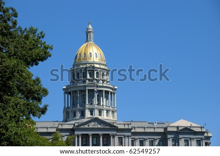 Capitol building in Denver, with gold leaf dome