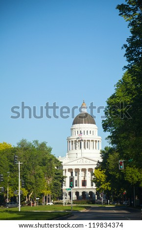 Capitol building in Sacramento, California on the sunny day