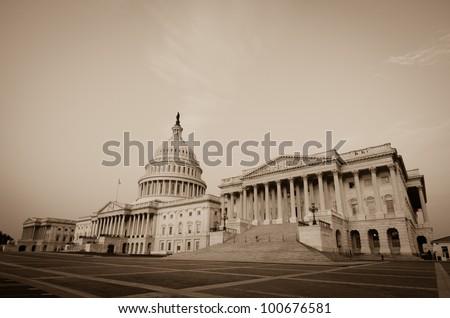 Capitol Building in sepia  - Washington DC
