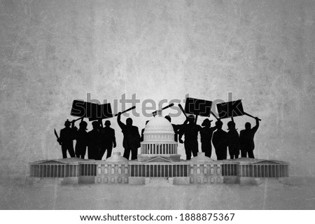 Capitol building under riots attack isolated on white background 3d illustration  Foto stock ©
