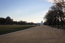 Capitol Building view from National Mall promenade, Washington DC, USA