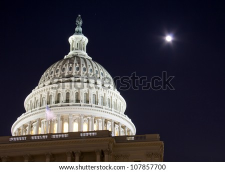 Capitol dome with full moon - Washington DC USA